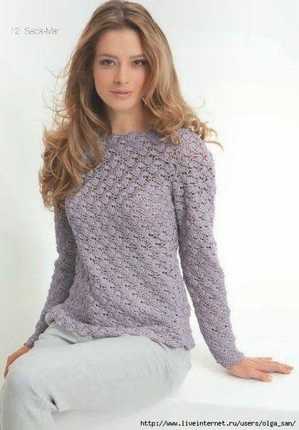 Мир хобби: Пуловер сиреневого цвета (вязание крючком)