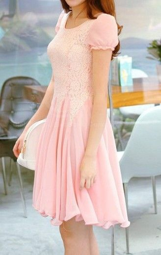 Puff Sleeve Lace Splicing Dress