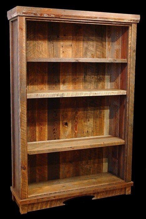 Custom made reclaimed barn wood bookcase home decor for Reclaimed wood bookcase diy