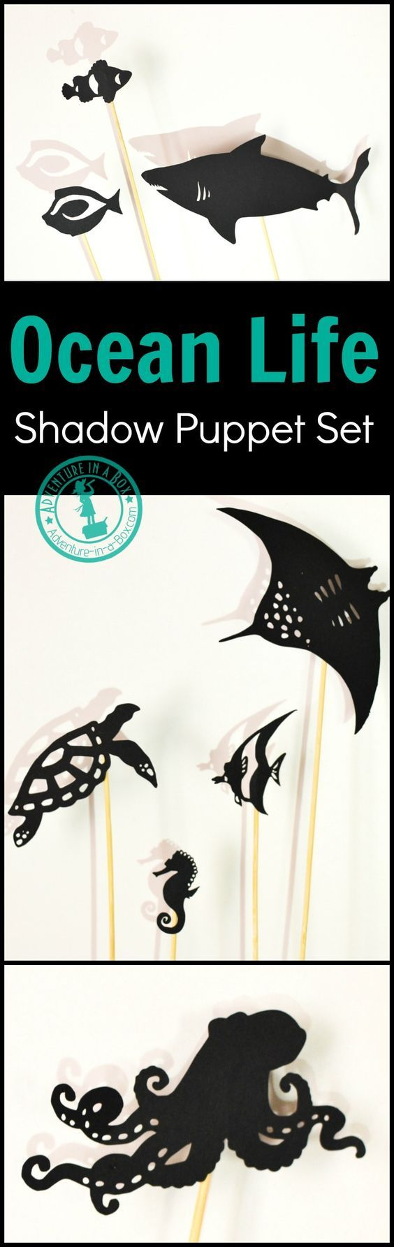 Print and cut your own set of ocean life shadow puppets! Great for studying coral reefs with kids, as well as Finding Nemo or Finding Dory party ideas.