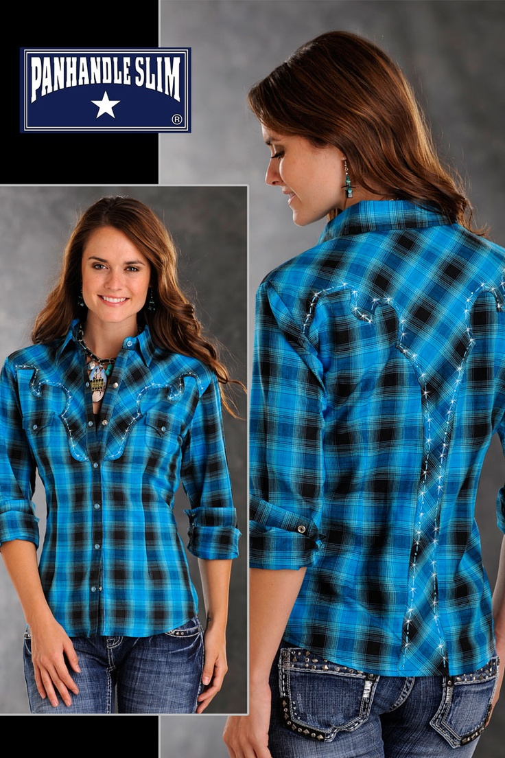 womens blue plaid shirts   Women's Panhandle Slim Blue Without My Baby Plaid Western Shirt