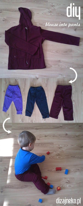 diy kids pants made from mothers blouse   ZróbToSam spodnie dziecięce z bluzy mamy