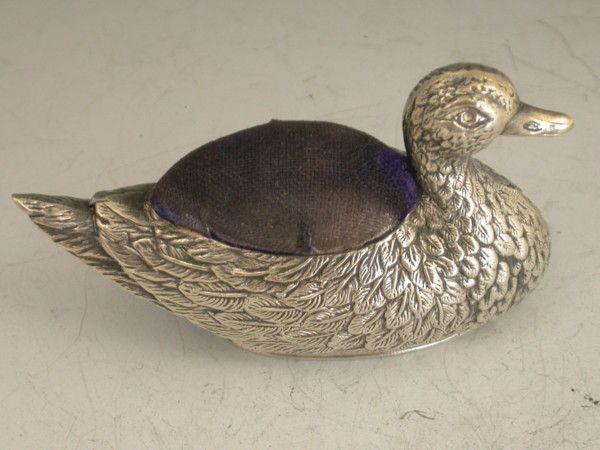 George V Antique Silver Duck Pin Cushion