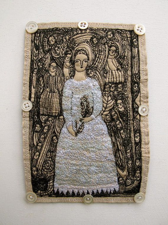 A May Queen  a larger original embroidery artwork by cathycullis