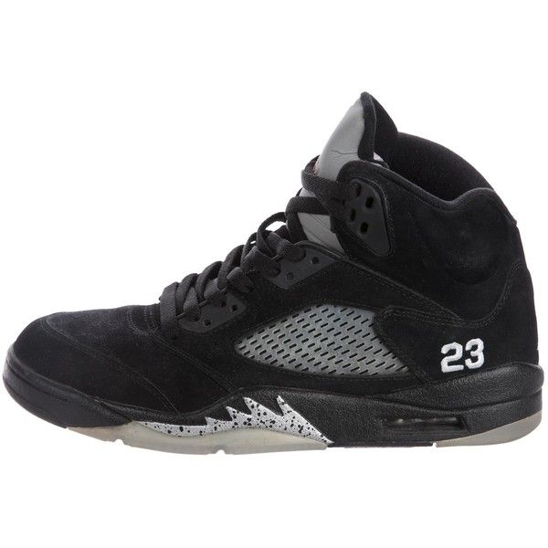 new style 53e16 62f5a Pre-owned Nike Air Jordan 5 Retro Metallic Sneakers ( 195) ❤ liked on Polyvore  featuring men s fashion, men s shoes, men s sneakers, black, nike mens shoes  ...