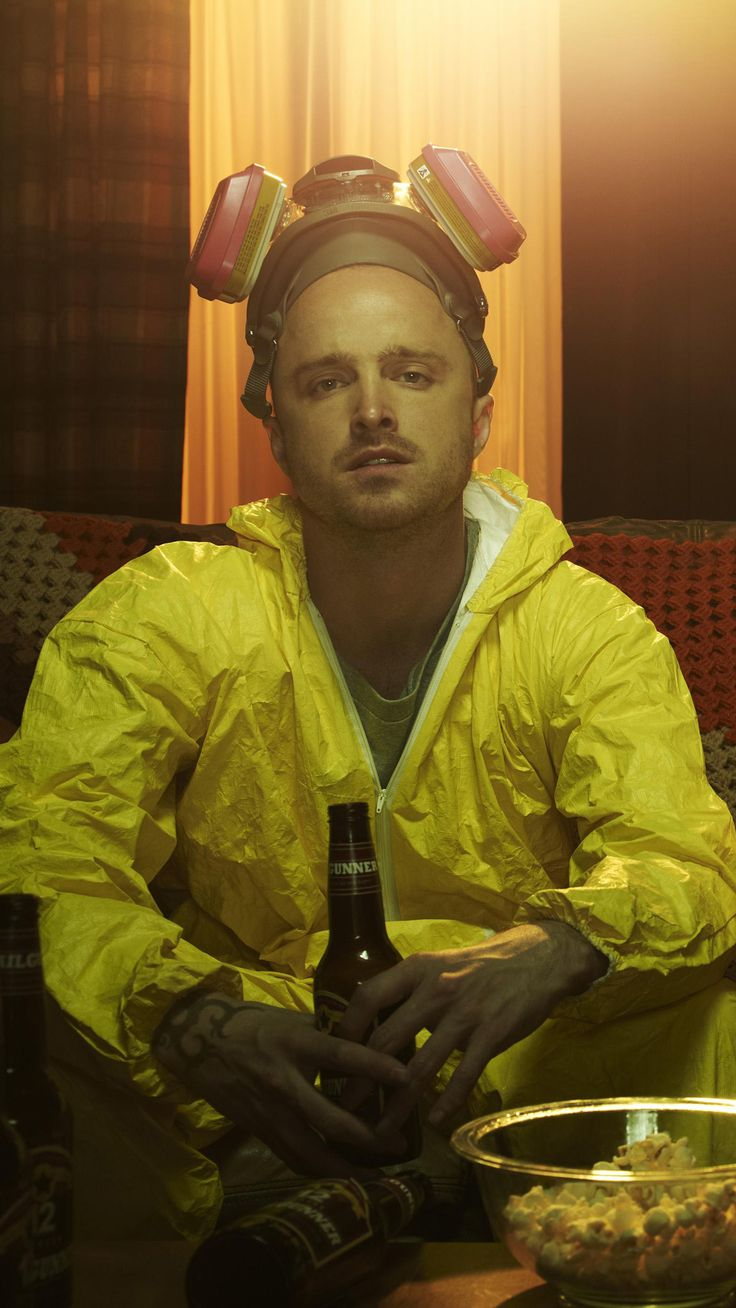 Aaron Paul as Jesse Pinkman in Breaking Bad, as a former student of Walter White who helps him become a meth cook