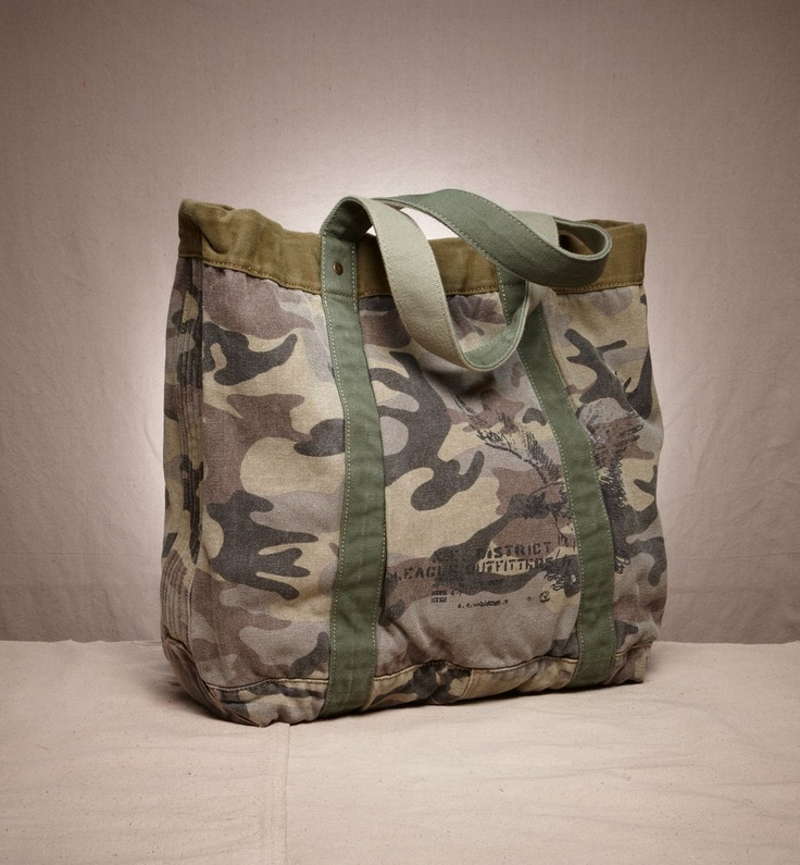 camo tote. Wonder if I made these for grocery carriers that my husband would use them and stop the plastic madness