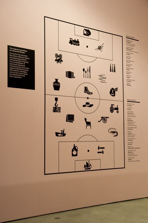 Lucienne Roberts+'s infographic for Design Museum exhibition the Future is Here, which uses illustrations of football team nicknames to highlight UK cities' industrial heritage