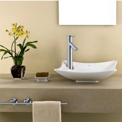 Un lavamanos sobre puesto con una forma diferente como - Lavamanos con mueble ...