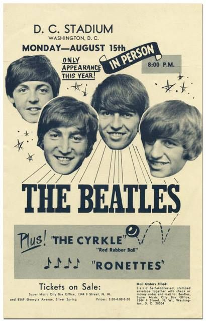 The Beatles at D,C, Stadium Poster (1966).