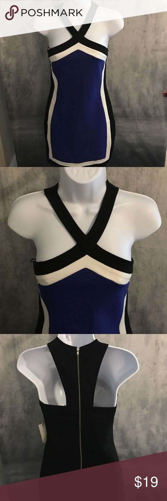 Bodycon Dress Black, blue and white. Pretty x top. New with tags. have Dresses Mini