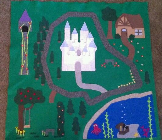 Priness play mat --- rapunzel, cinderella, snow white, ariel, belle. Made with felt and hot glue.