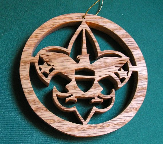 Boy Scout ornament handcrafted of red oak by WhiteFoxCrafts, $5.95