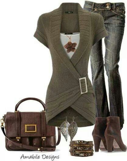 Fall outfit...moss green wrap sweater, jeans, brown accessories