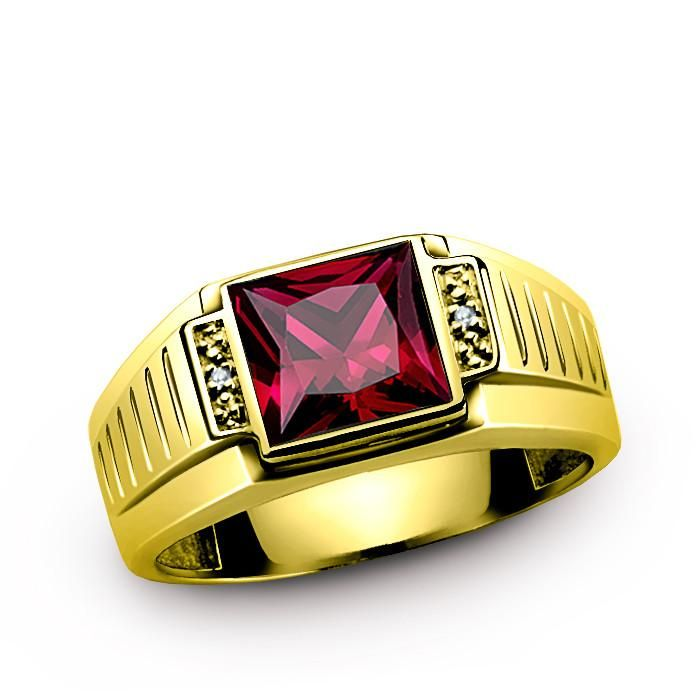 Men's Ruby Ring with Natural Diamonds in 10K Yellow Gold - J F M