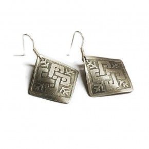 #etched #german #silver #earings . #traditional #weaving #pattern  from #Metsovo #Epirus #Greece  www.apoplanity.com