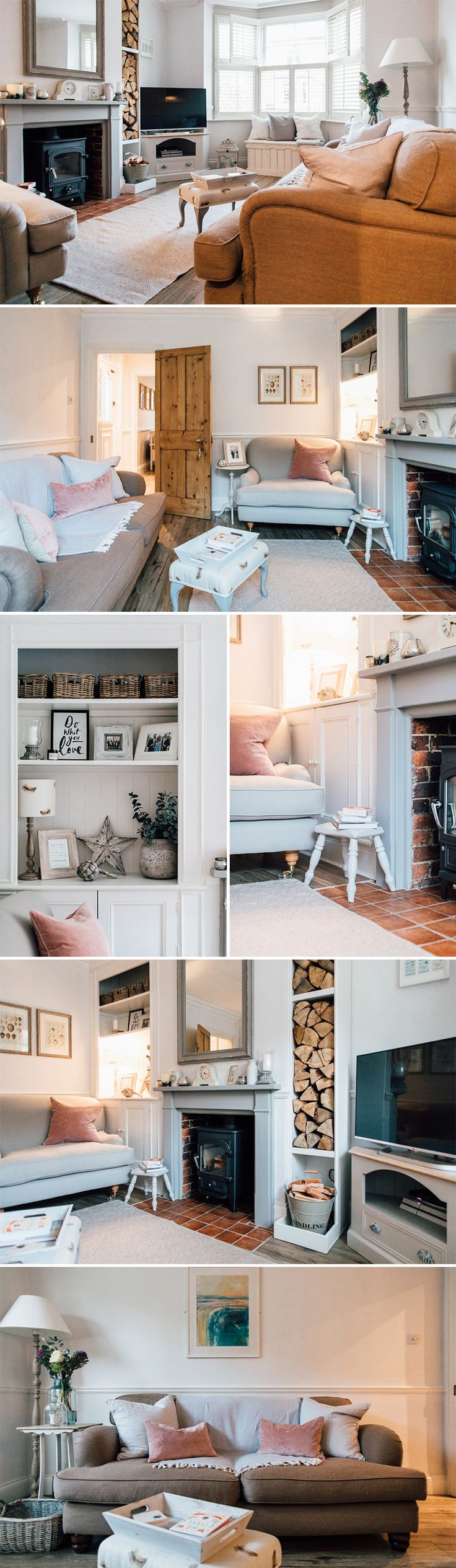 Vintage Milk Stool | Log Burner And Stacked Logs | Alcove Shelving Shelf Styling | Kindling Wood And Log Store | Cosy Modern Country Living Room | Plantation Shutters | bay window chest | how to style a mantle piece | pink living room accessories | neutral sofa | How to style a neutral sofa | Snuggler Seat | How to style a love seat | how to style a coffee table | living room window shutters | Modern country decor