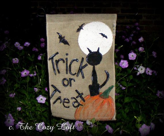 Trick or Treat Black Cat Halloween Pumpkin Full Moon Fall Burlap Garden Flag Rustic Outdoor Decor on Etsy, $25.00