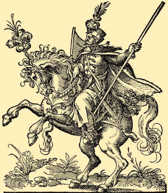 Képaláírás: Magyar huszár a XVI.-ik században.Jost Ámán rajza után készült egykorú fametszet. Ernst Lajos gyűjteményének eredeti példányáról.