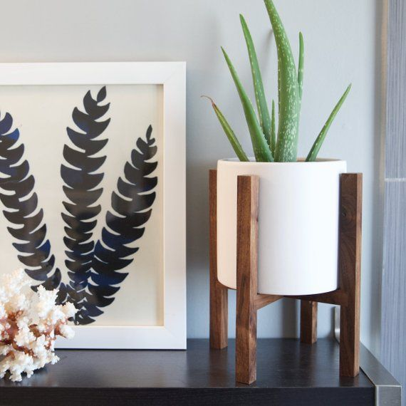 Desktop Mid Century Modern Wood Plant Stand With 6 Ceramic Pot