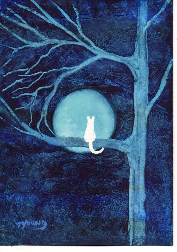 White Cat abstract Folk art PRINT of Todd Young painting BLUE MOON via Etsy