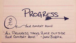 All progress takes place outside your comfort zone. ~John Bobak