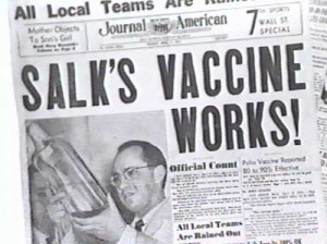 April 12, 1955 ~ announcement of Dr. Jonas Salk's polio vaccine...Got my first polio shot at school.