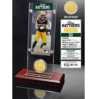 NFL® Green Bay Packers Clay Matthews Ticket & Bronze Coin Desktop Acrylic