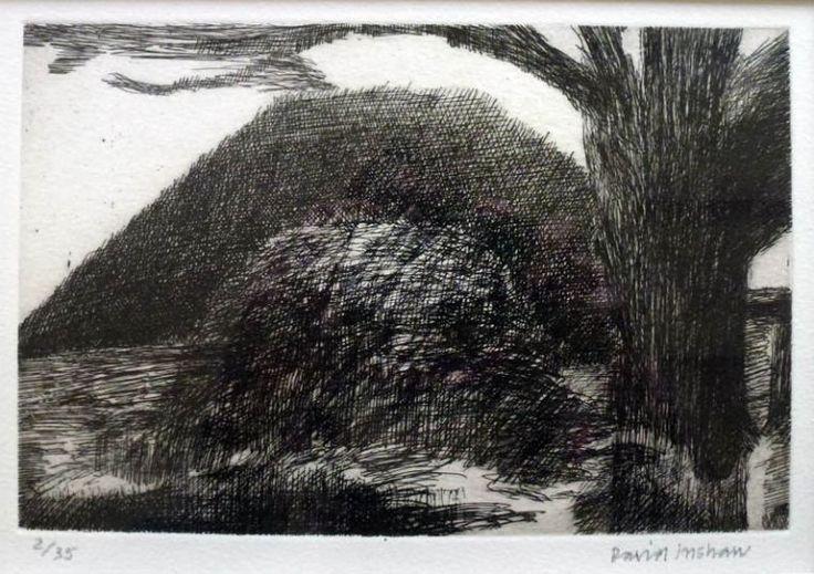Silbury Hill (undated) by David Inshaw, etching 20 x 13cm