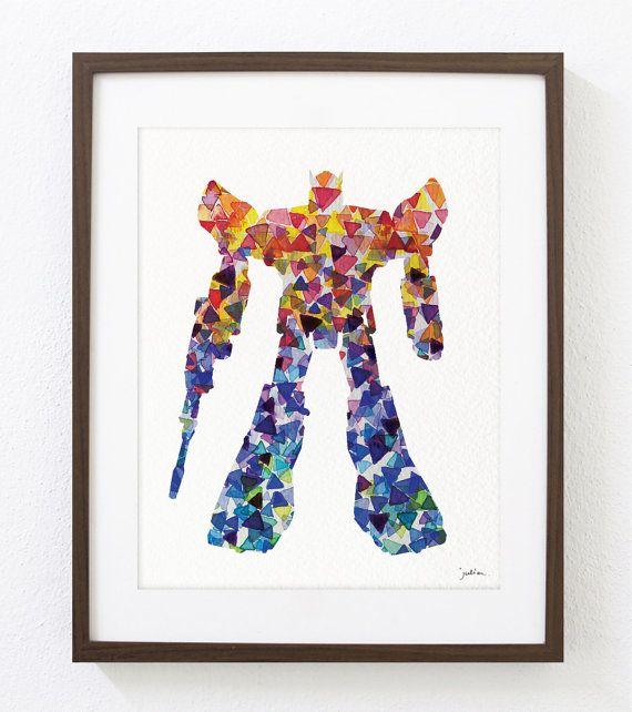 Imprimer de transformateur Robot aquarelle Art par ElfShoppe, $30.00