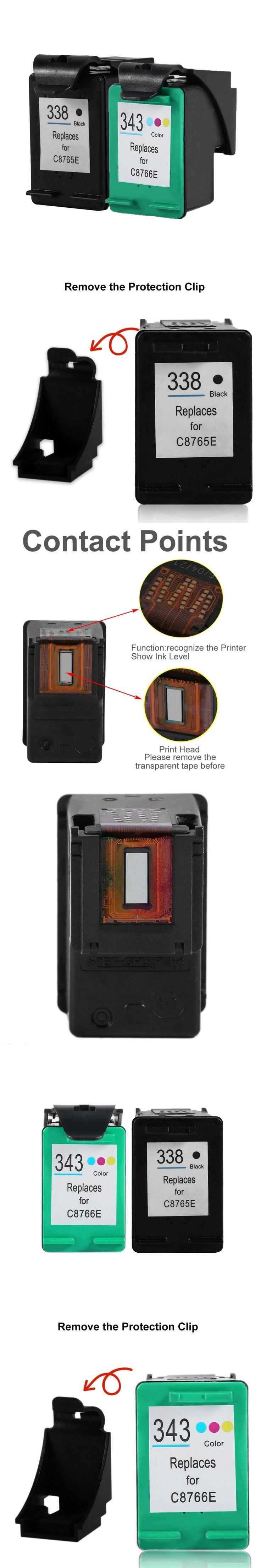 2Pcs For HP 338 343 Ink Cartridge For HP PSC 1500 1510 1600 1610 Deskjet 6540