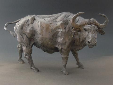 """African Buffalo"" Bronze Sculpture by Edward Waites. This sculpture has been produced as a limited edition of just 12, each individually signed and numbered. ""African Buffalo"" has been cast in bronze using the lost wax process."