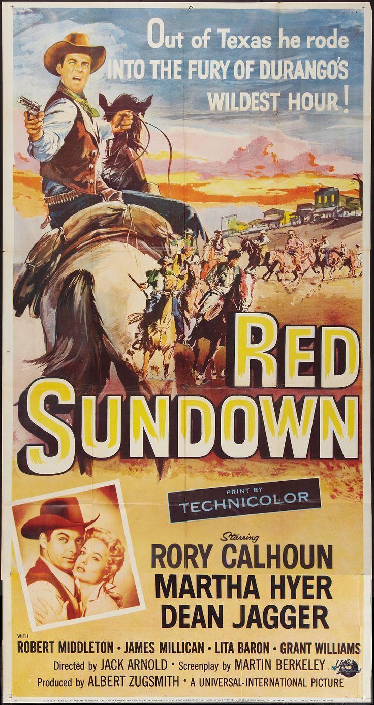 RED SUNDOWN - Rory Calhoun - Martha Hyer - Dean Jagger - Robert Middleton - James Millican - Lita Baron - Grant Williams - Directed by Jack Arnold - Universal-International - Insert Movie Poster.