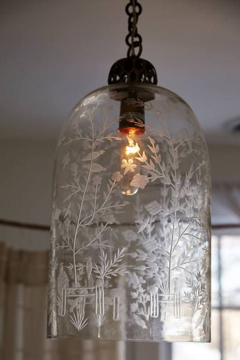 Etched Cloche Pendant Lamp by Barry Dixon