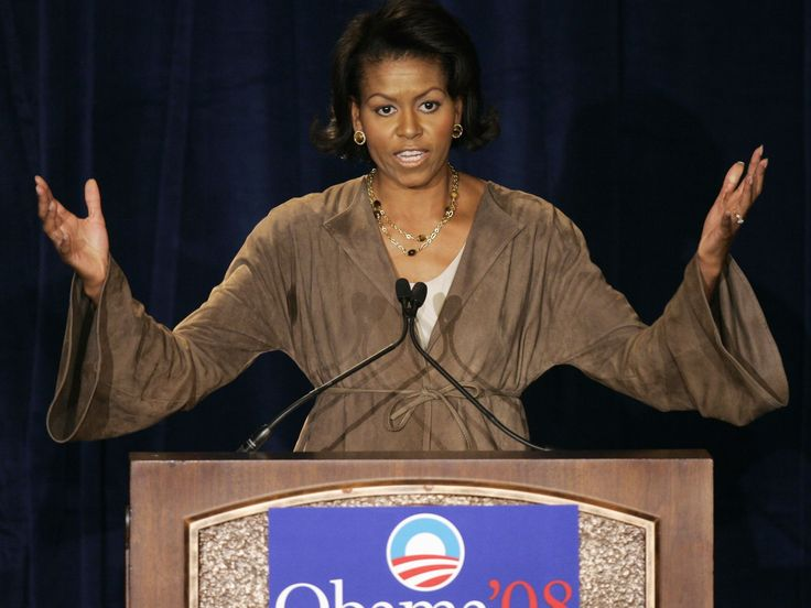 Michelle Obama, wife of Democratic presidential hopeful Sen. Barack Obama, D-Ill., spoke at a Women for Obama luncheon in Chicago, Monday, April 16, 2007.