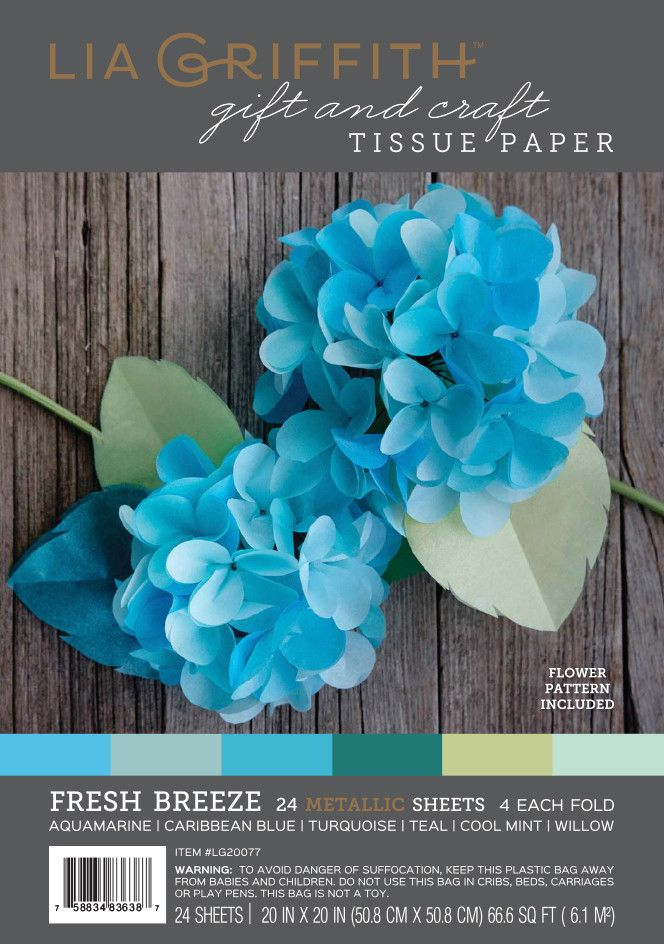 Pack of 24 sheets high quality metallic tissue paper in 6 fresh blue tones. Perfect for making DIY tissue paper flowers, holiday, wedding and party decorations, elegant gift wrapping, kids craft proje