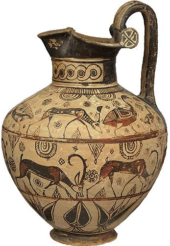Trifoil-mounth oinochoe. From Rhodes. Ca. 670 B.C. NATIONAL ARCHAEOLOGICAL MUSEUM OF ATHENS