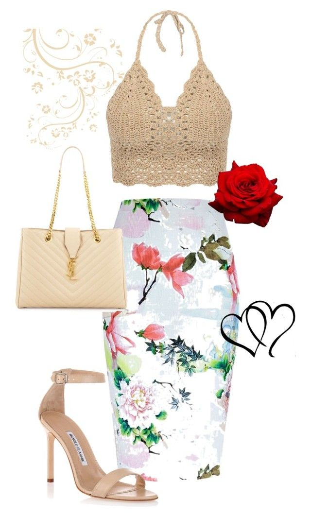 crochet by caterinami on Polyvore featuring moda, River Island, Manolo Blahnik and Yves Saint Laurent
