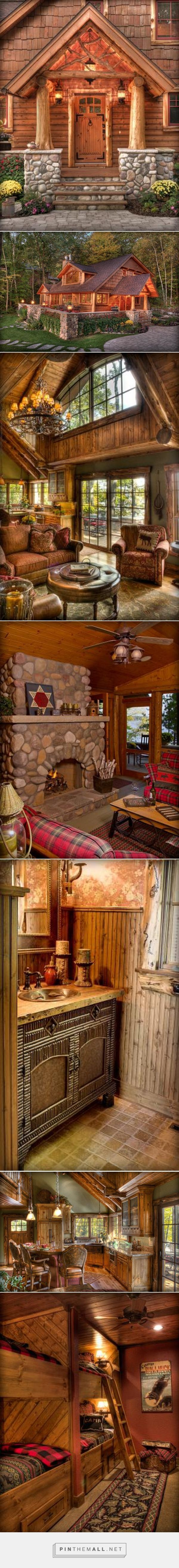 This house is ticking off all the boxes for me in what I want in a rustic cabin aka log home. - collage created via http://pinthemall.net