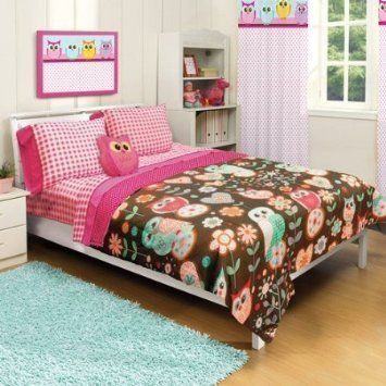 Adorable 5pc girl pink brown green owl floral flower full for Brown and pink bedroom ideas for a girl