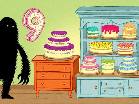 Nine cakes! The Lonely Beast 123 – a counting adventure for kids for iPhone, iPad & iPod Touch