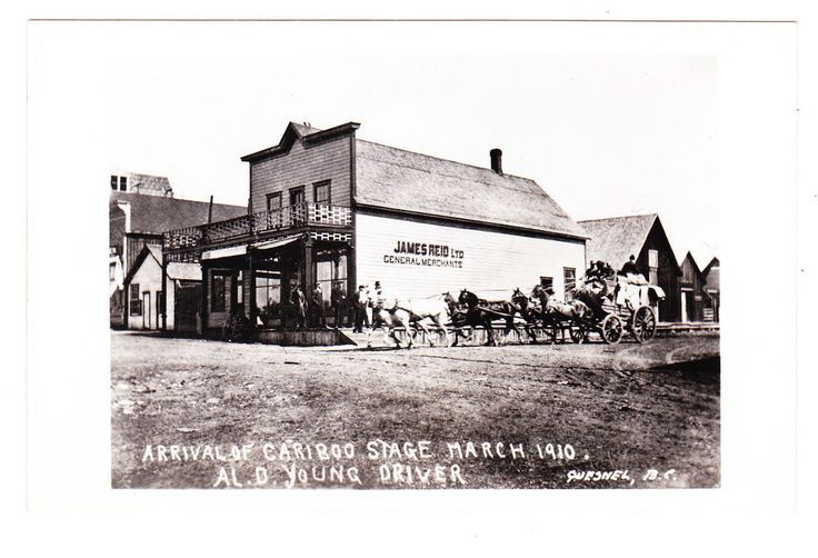 BC – QUESNEL, Arrival of Cariboo Stage, March 1910 RPPC