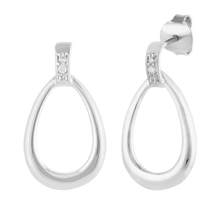 Beautiful Amore Earrings with white Zircon in silver Jewellery
