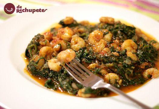 Espinacas con salsa de tomate casero y gambas. - Recetasderechupete.com http://www.recetasderechupete.com/espinacas-con-gambas-en-salsa-de-tomate-casero/5779/ #receta