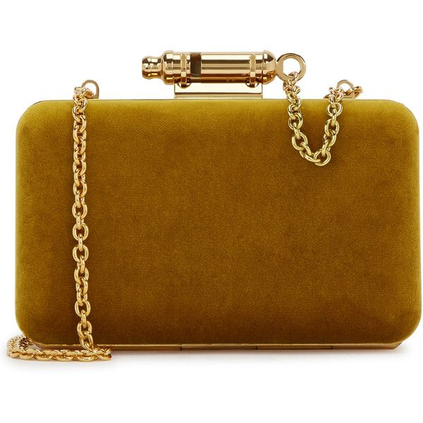 Sophie Hulme Whistle Ochré Velvet Box Clutch ($760) ❤ liked on Polyvore featuring bags, handbags, clutches, velvet clutches, brown handbags, velvet handbags, hard clutch and brown purse
