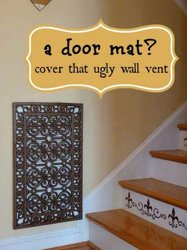 Use doormats and spray paint to make a decorative vent or electrical box cover.