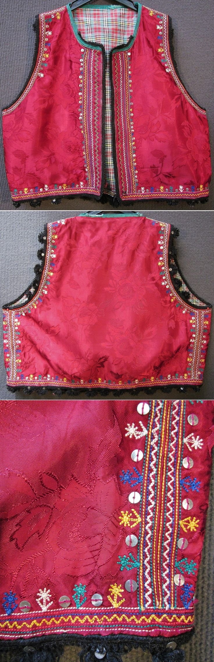 Woman's 'yelek' (bodice). From the Ruen district (in the northern part of the Burgas province, southeastern Bulgaria). Rural, ca. 1950-1975. Part of the traditional festive costume. Ethnic group: Turkish Alevi. Damask weaving in mercerised cotton. Adorned with multicoloured cotton embroidery and metallic sequins. (Inv.n° yeL025 - Kavak Costume Collection - Antwerpen/Belgium).
