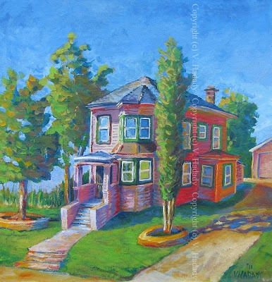 The central valley California region of Stockton, California features several +100 year old structures that remain in full use.  Baron Griffin House, acrylic/treated unstretched canvas, 53 x 55 cm.  Copyright (c) Vanessa Hadady