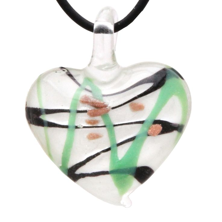 Designer Murano Inspired Glass - White, Mint Green and Black Art Deco - Heart Pendant Necklace Set - Fashion Interchangeable Jewelry - Hypoallergenic - Gift Ready