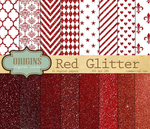 Red Glitter Digital Paper Red and White by OriginsDigitalCurio